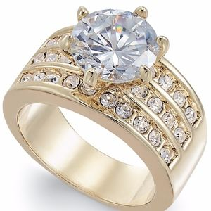 ✨Gold-Tone Crystal Cubic Zirconia Triple-Row Ring